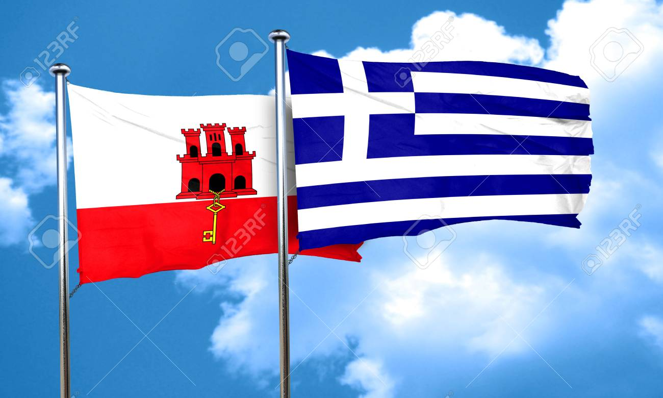 Bandiera Della Gibilterra Con Bandiera Della Grecia Rendering 3d