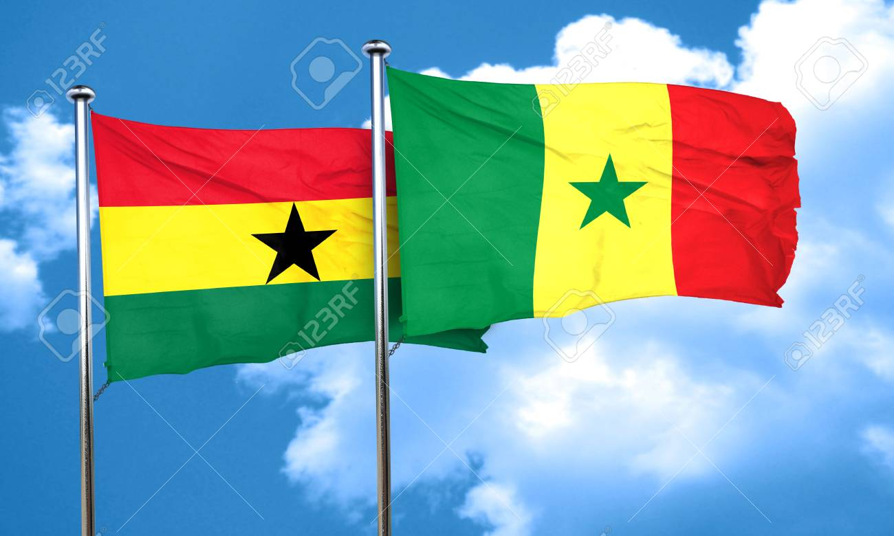 ghana flag with senegal flag 3d rendering stock photo picture and