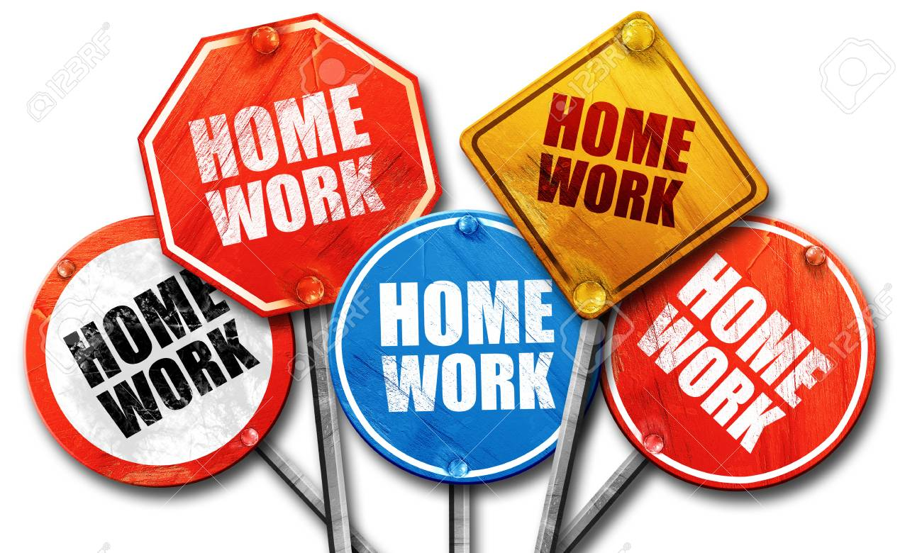 Homework, 3D Rendering, Street Signs Stock Photo, Picture And Royalty Free  Image. Image 58474471.