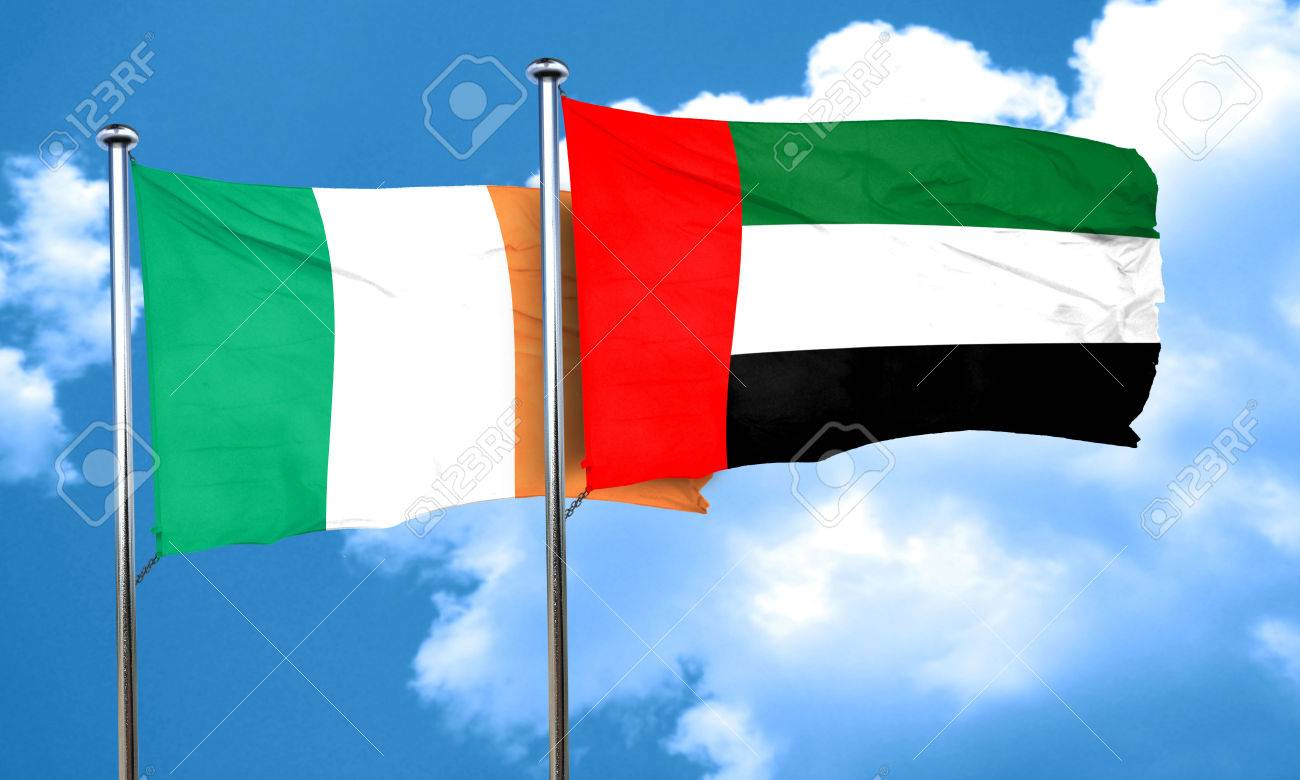 ireland flag with uae flag 3d rendering stock photo picture and