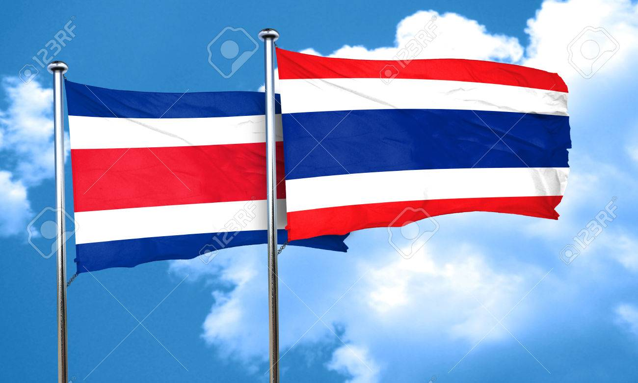 costa rica flag with thailand flag 3d rendering stock photo