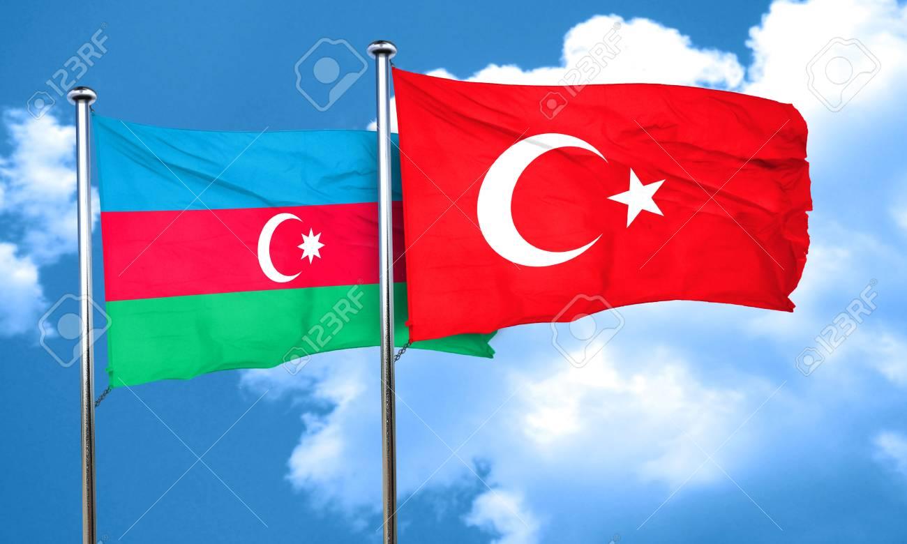 Aserbaidschan Flagge Mit Der Turkei Fahne 3d Rendering Lizenzfreie Fotos Bilder Und Stock Fotografie Image 58679492