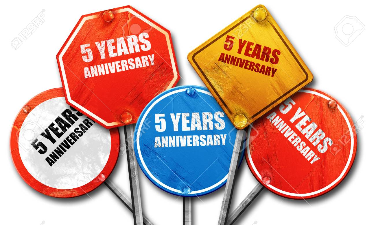 5 Years Anniversary 3d Rendering Rough Street Sign Collection