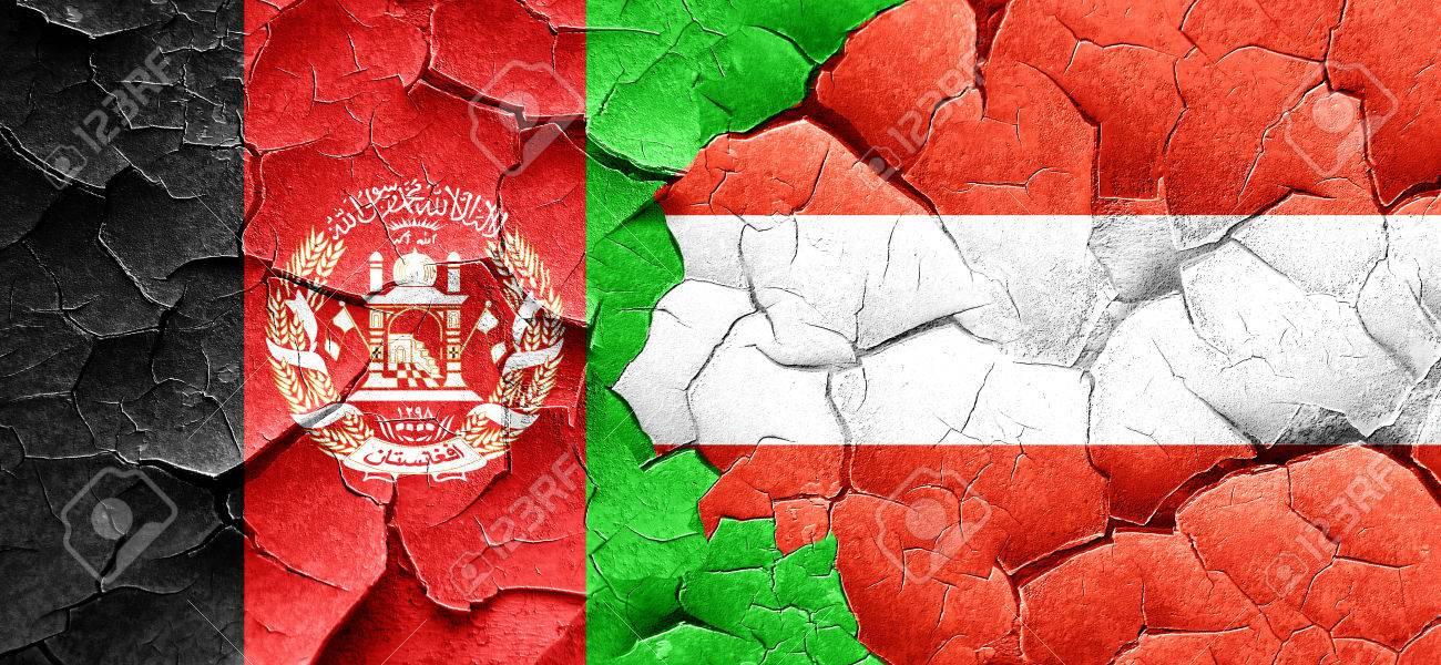 Afghanistan Flagge Mit Osterreich Flagge Auf Einem Grunge