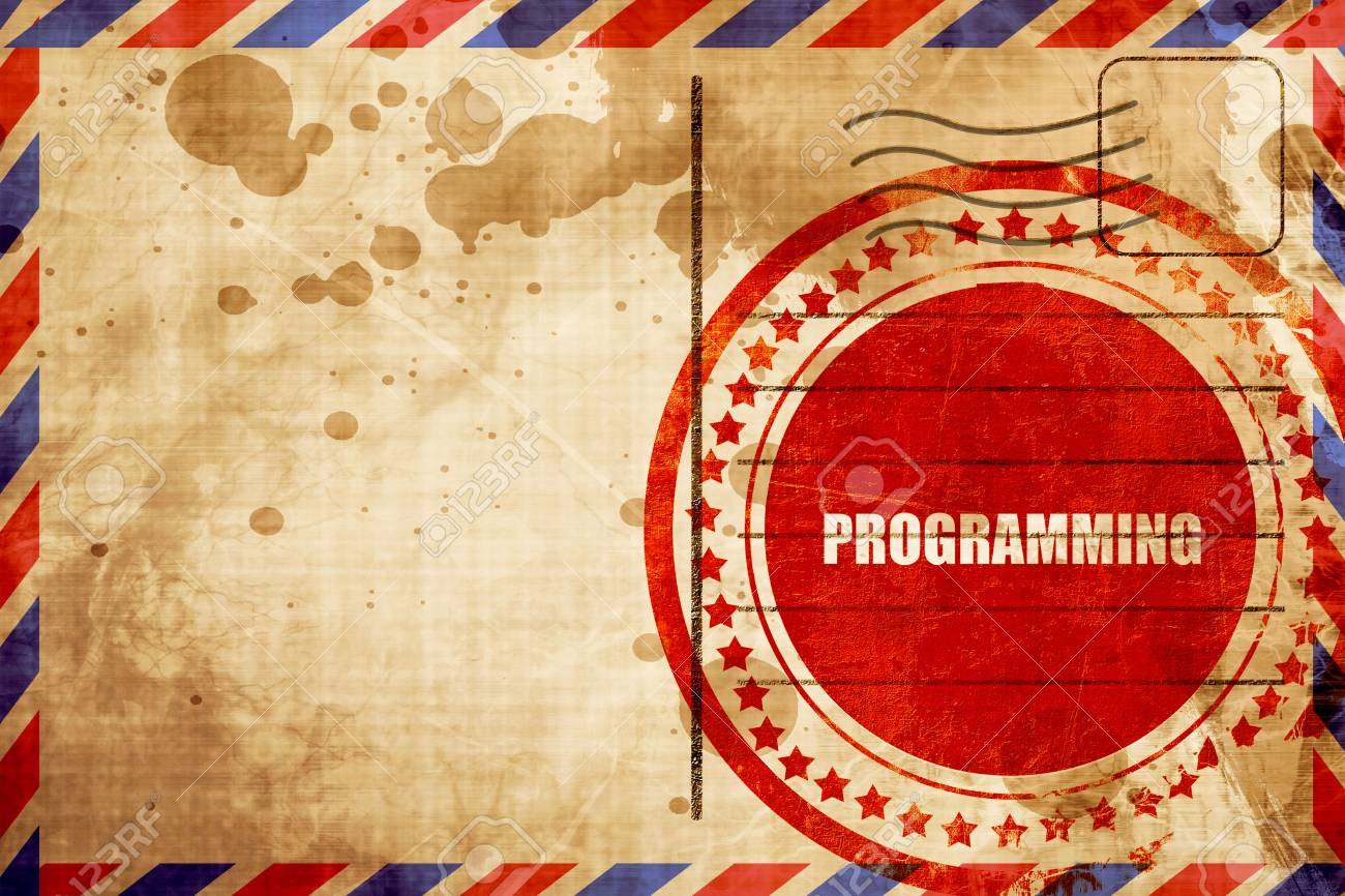 Programming Red Grunge Stamp On An Airmail Background Stock Photo