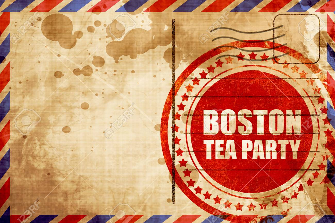 Boston Tea Party Red Grunge Stamp On An Airmail Background Stock Photo