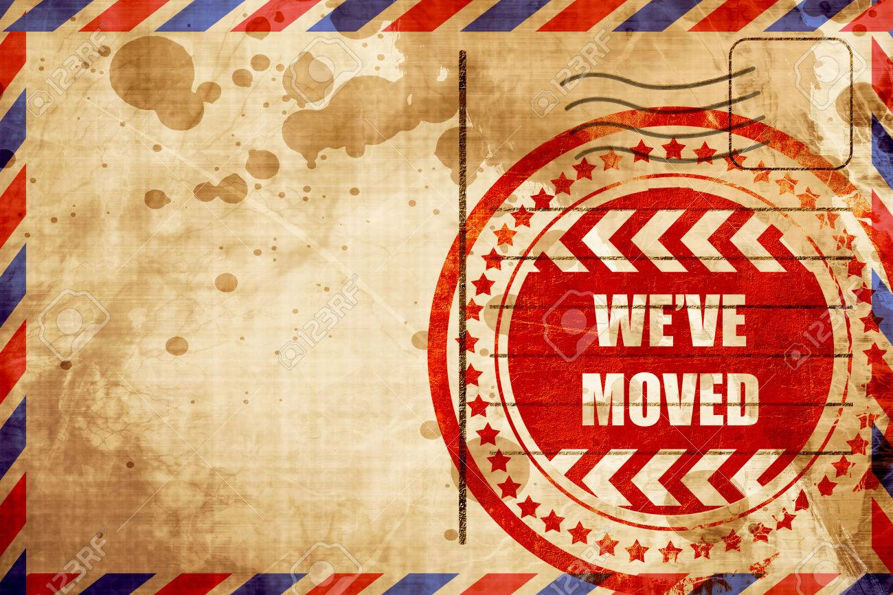 Weve Moved Sign With Some Soft Smooth Lines Red Grunge Stamp