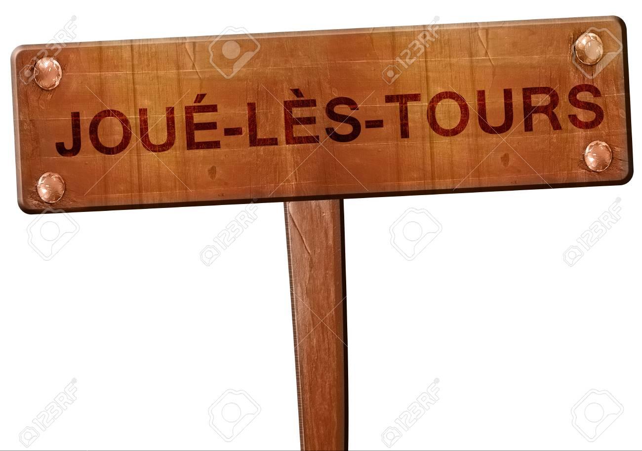 joue-les-tours road sign, 3D rendering - 69171950
