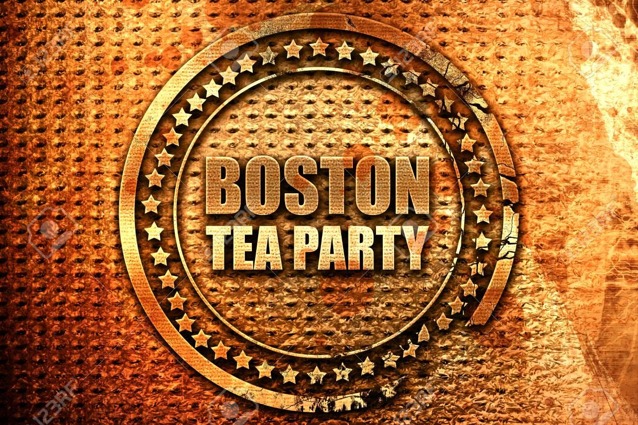 Boston Tea Party 3D Rendering Grunge Metal Stamp Stock Photo