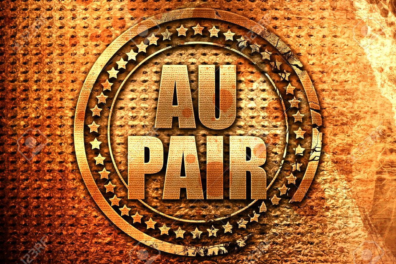 Au Pair 3d Rendering Grunge Metal Text Stock Photo Picture And