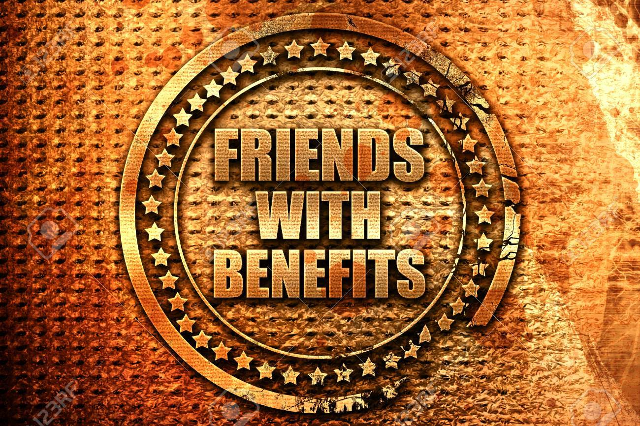 friends with benefits, 3D rendering, grunge metal text