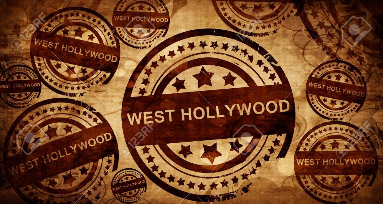 West Hollywood Vintage Stamp On Paper Background Stock Photo
