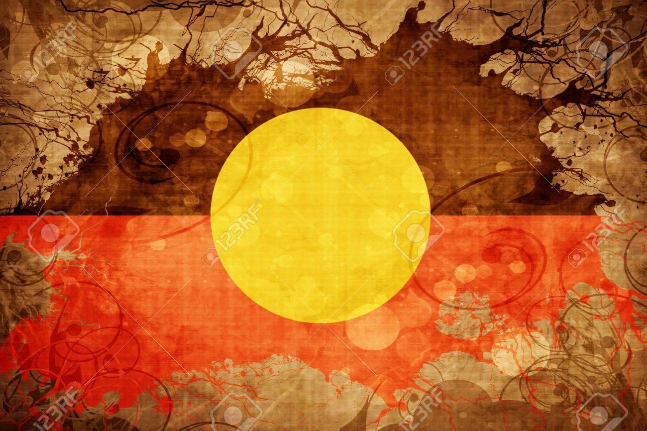 Vintage Australian Aboriginal Flag With Grunge Effect Stock Photo ...