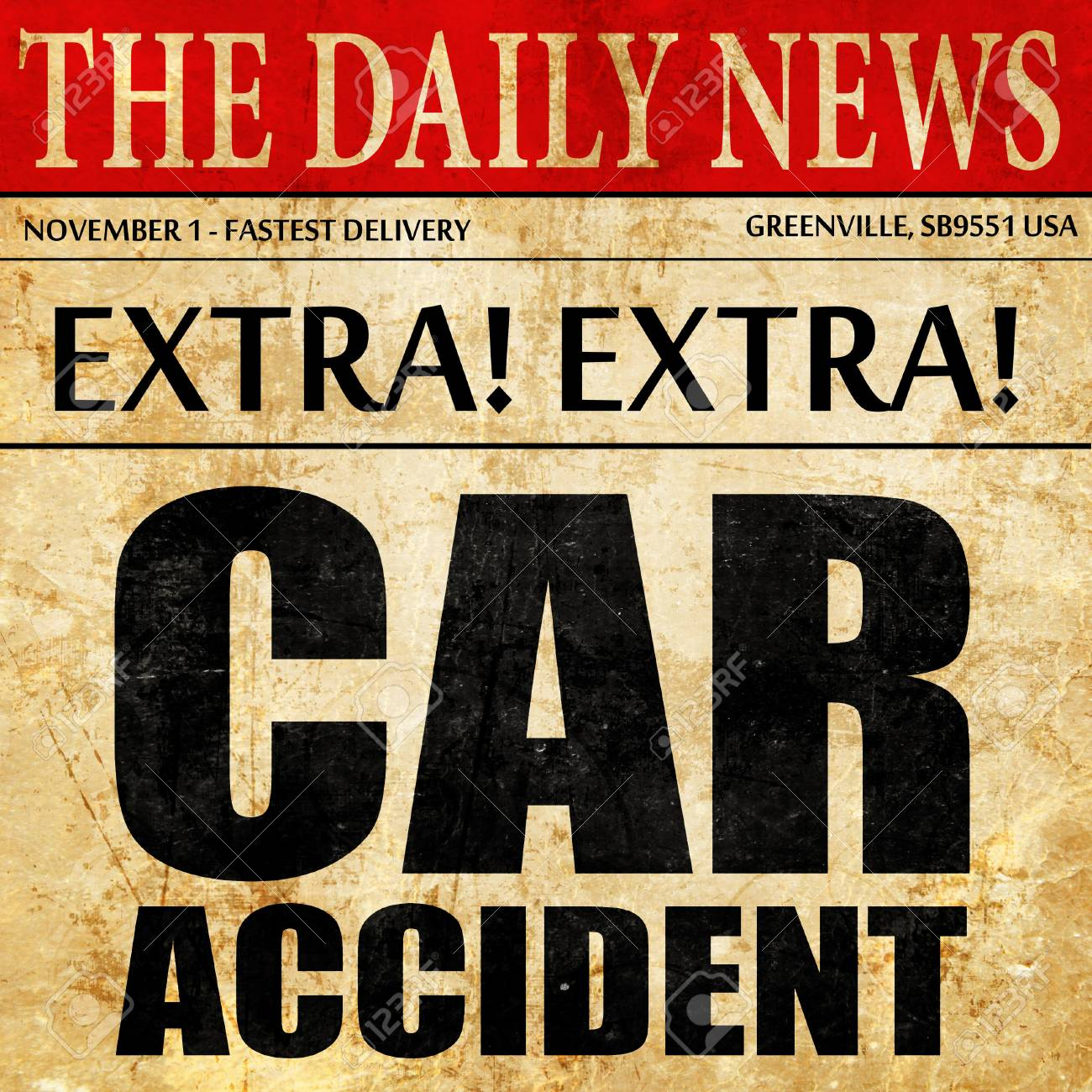 car accident, newspaper article text