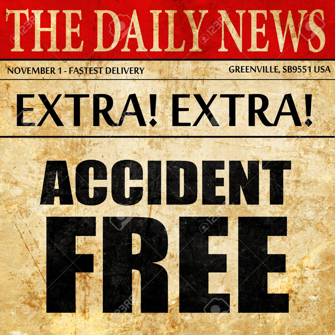 Accident Free, Newspaper Article Text Stock Photo, Picture And ...