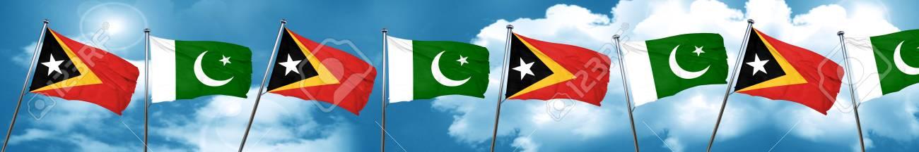 east timor flag with Pakistan flag, 3D rendering