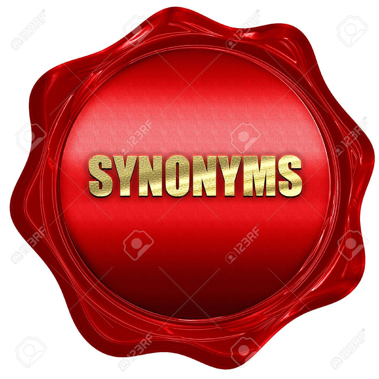 Synonyms 3D Rendering Red Wax Stamp With Text Stock Photo Picture