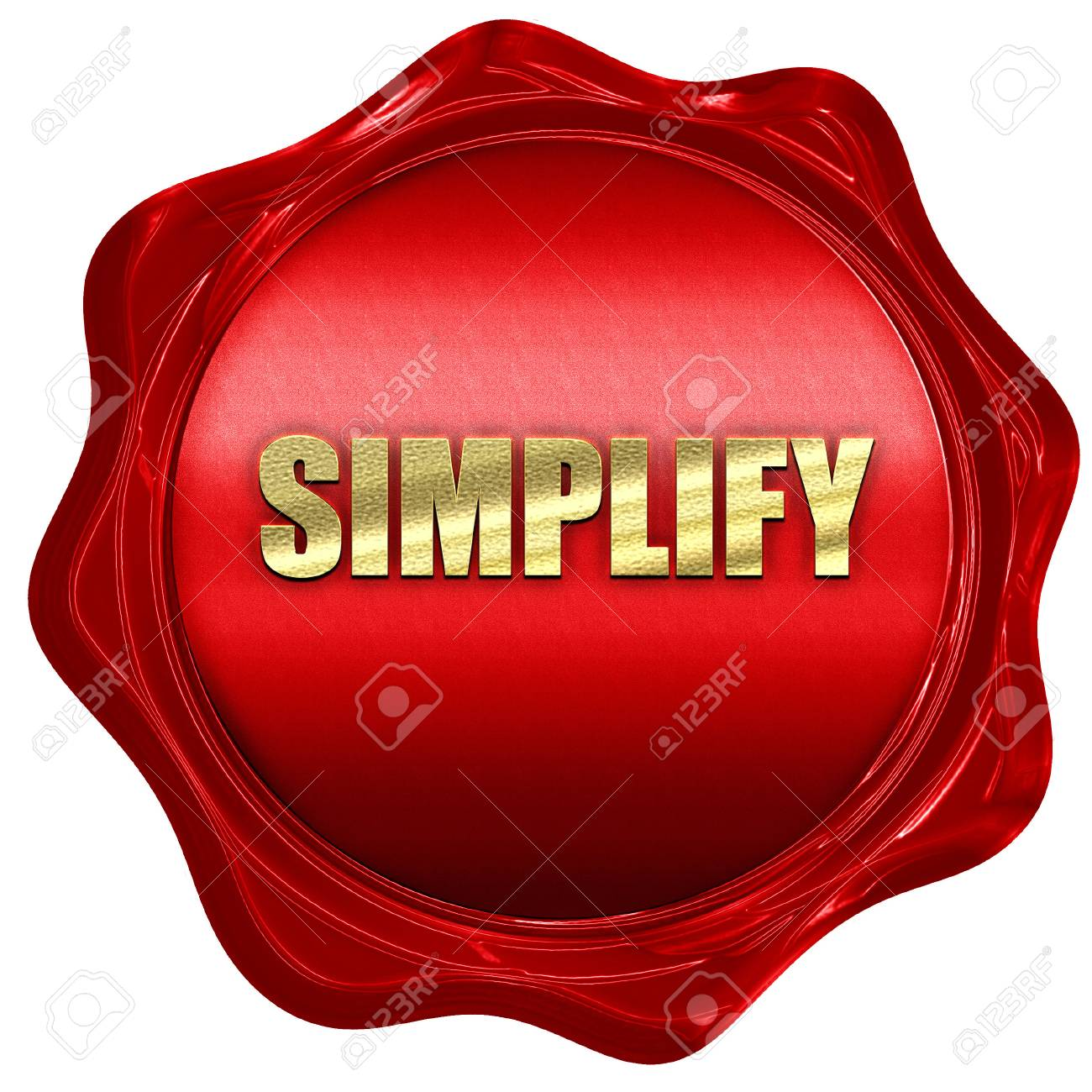simplify, 3D rendering, red wax stamp with text