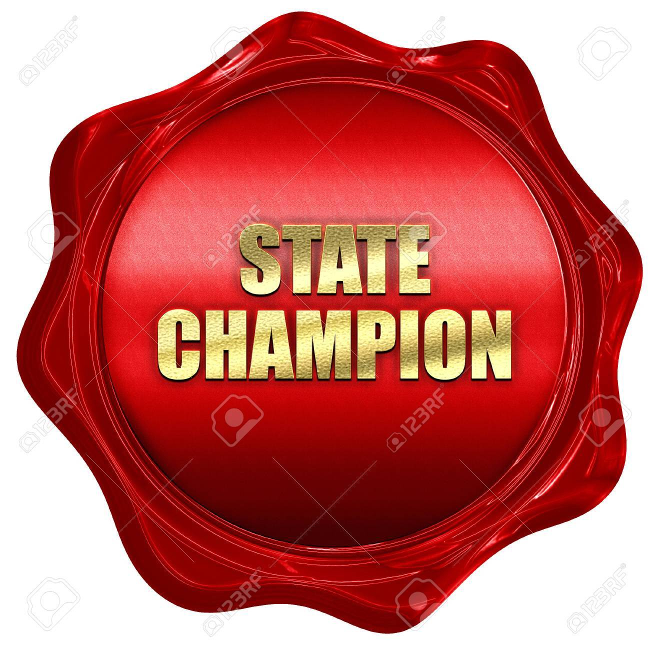 state champion, 3D rendering, red wax stamp with text
