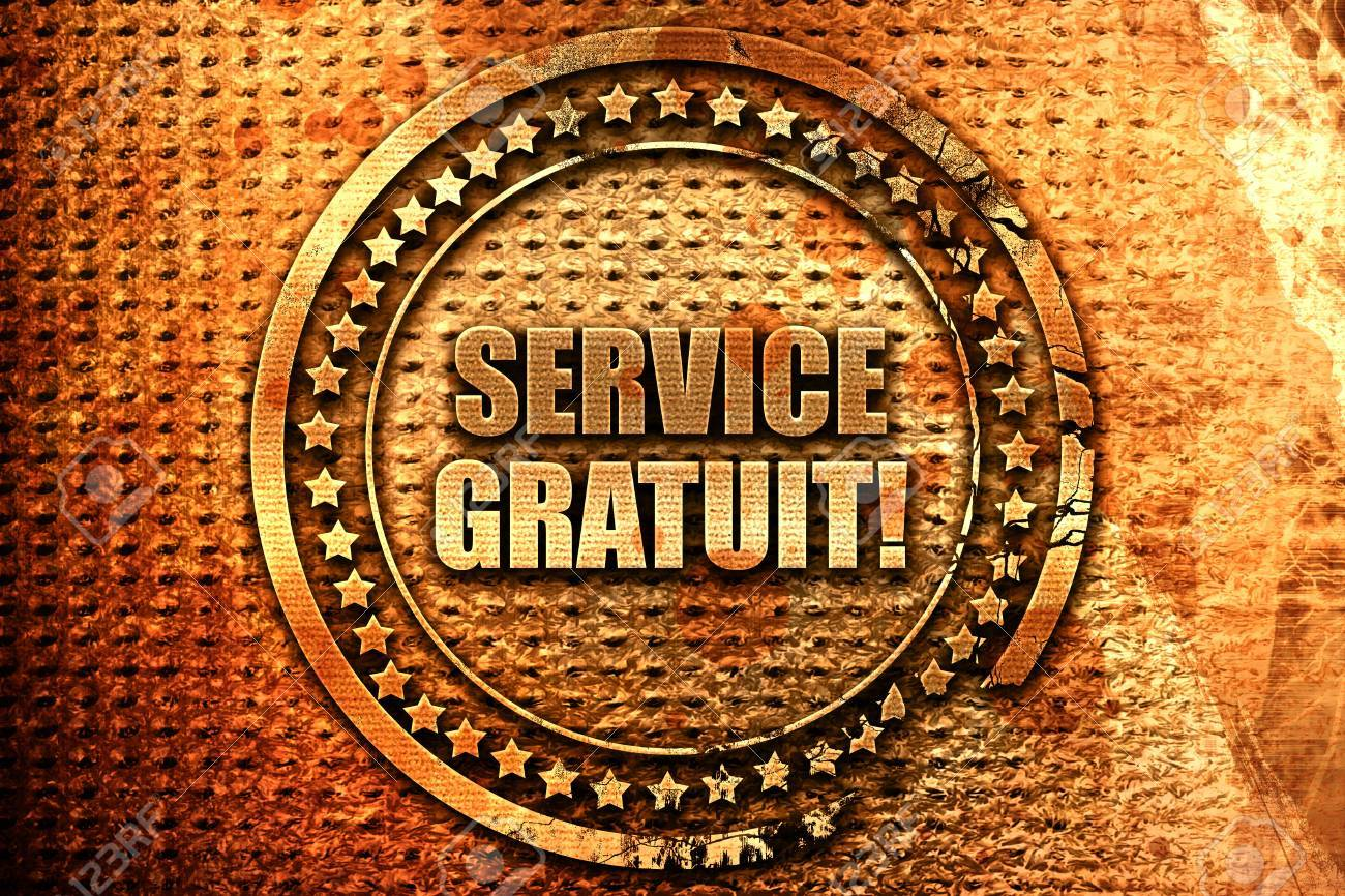 "123Rf Gratuit french text ""service gratuit"" on grunge metal background, 3d.. stock"