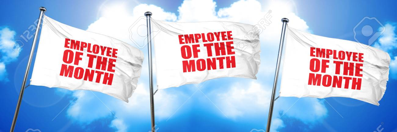 employee of the month 3d rendering triple flags stock photo