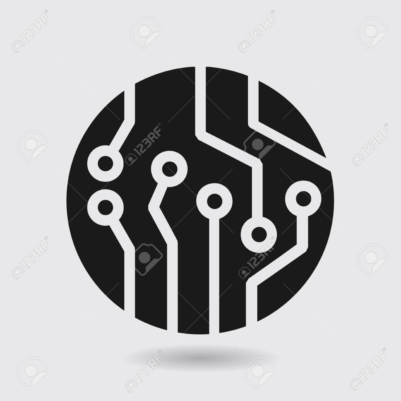 Circuit Board Icon. Technology Scheme Square Symbol. Flat Design ...