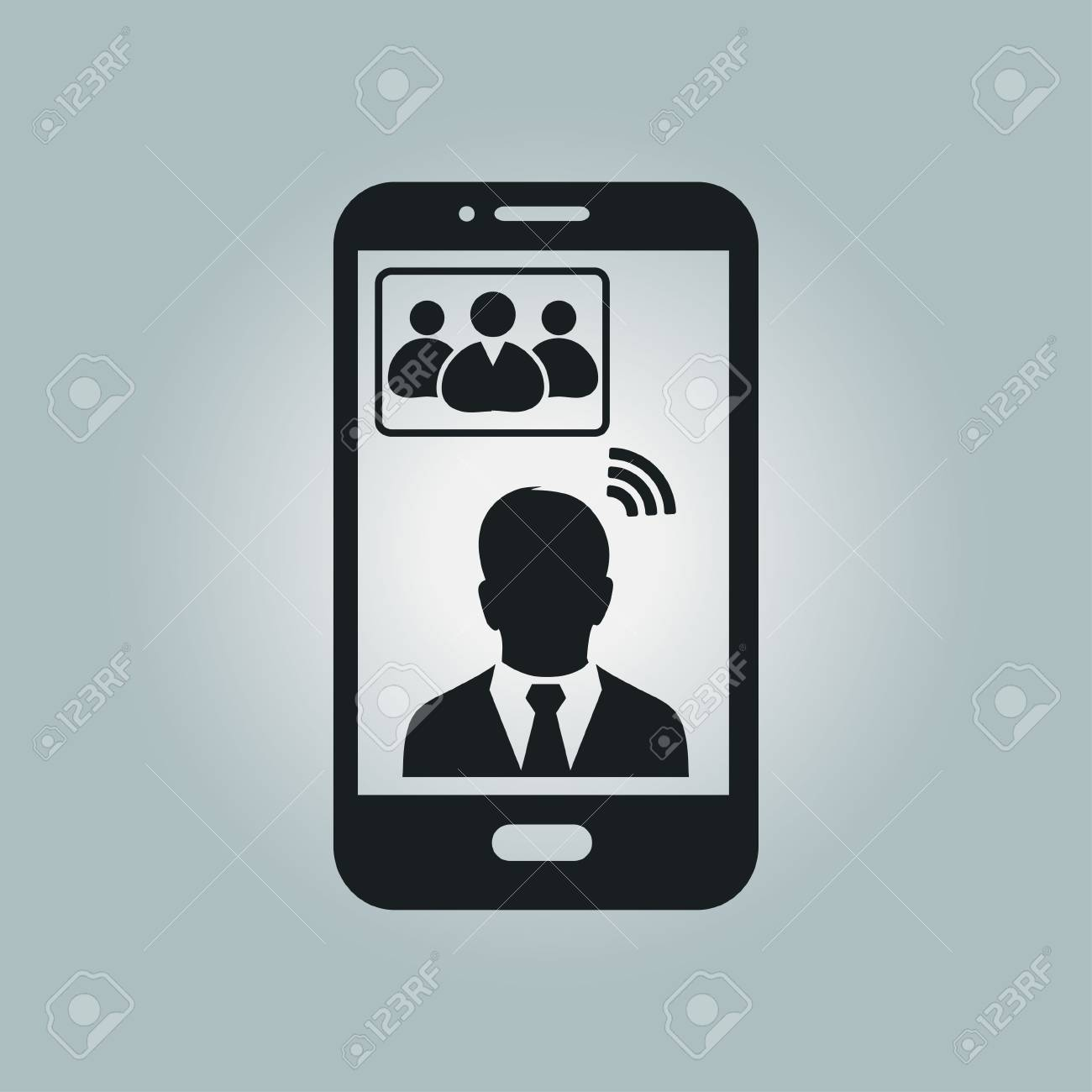Online conference smart phone icon  Voice and video conferencing