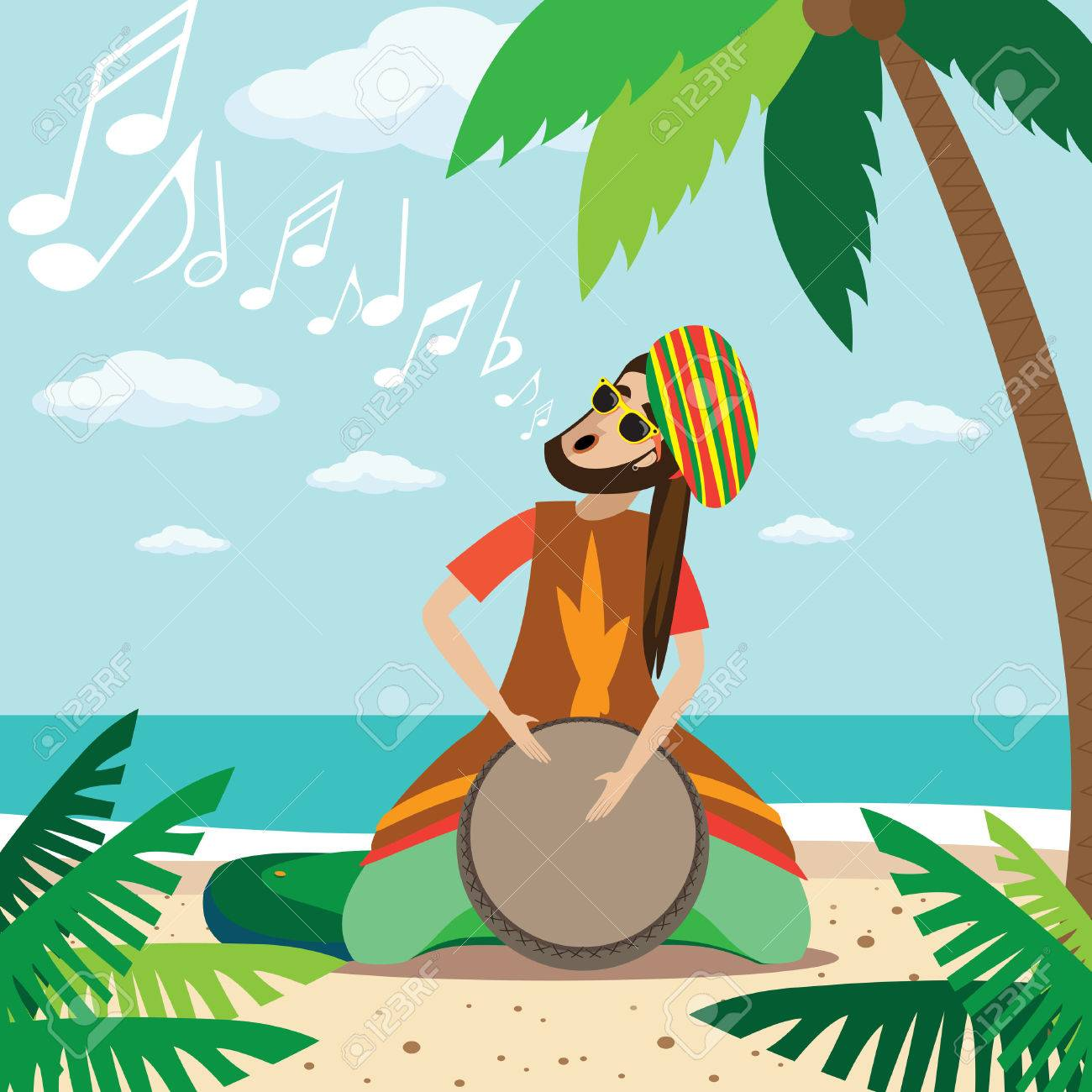 Rasta stock photos royalty free business images vector illustration on color background featuring rasta man sitting on the beach plays on the biocorpaavc Image collections