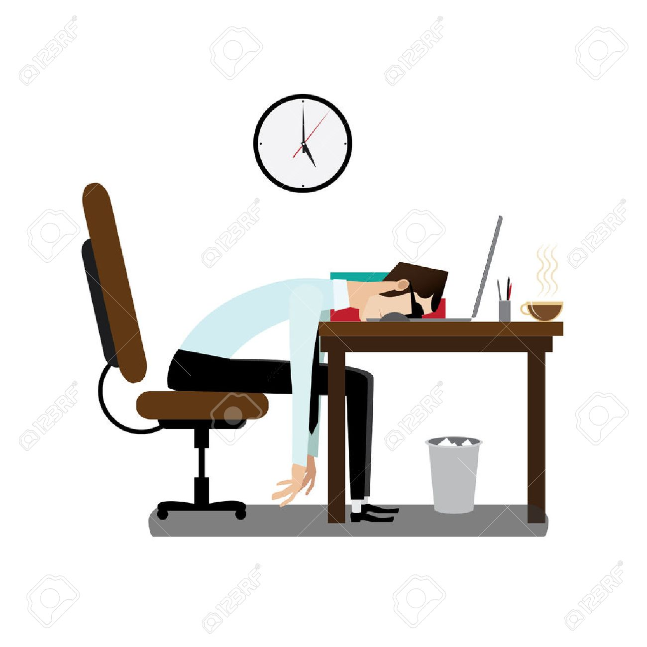 Vector illustration on white background featuring evening, tired office man sleeping at working desk - 46197404
