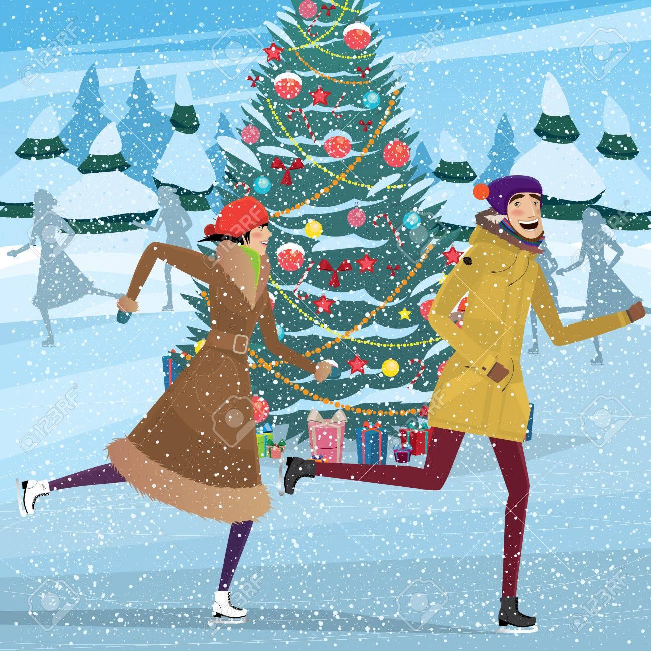 Patinaje Pareja Cerca Del árbol De Navidad En La Pista De Patinaje ...