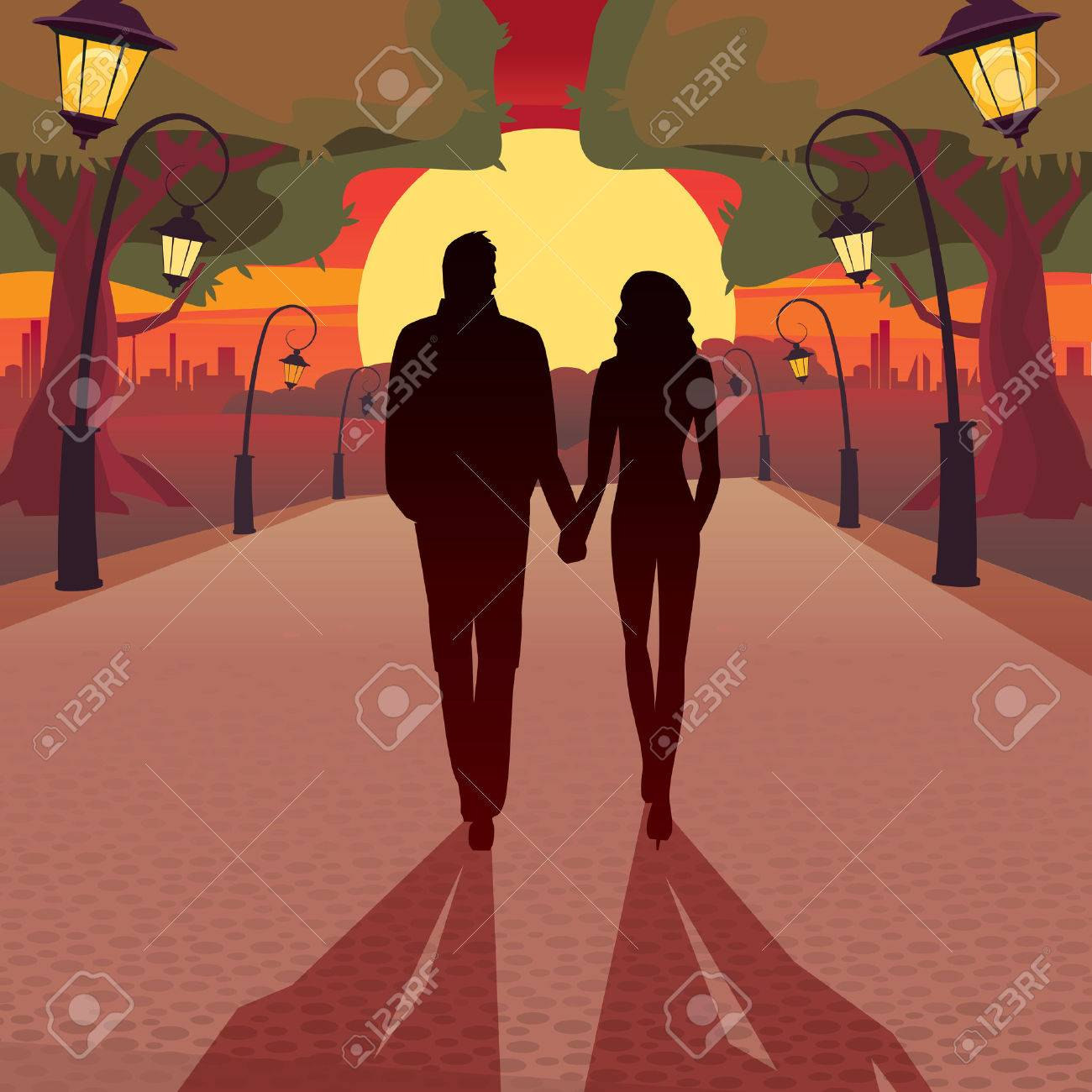Couple walking in the park at sunset holding hands love concept stock vector 50410698
