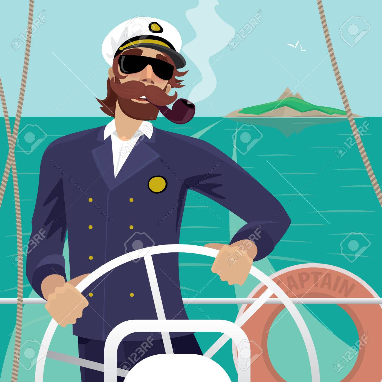 Happy sea captain looks funny with a mustache and a pipe standing