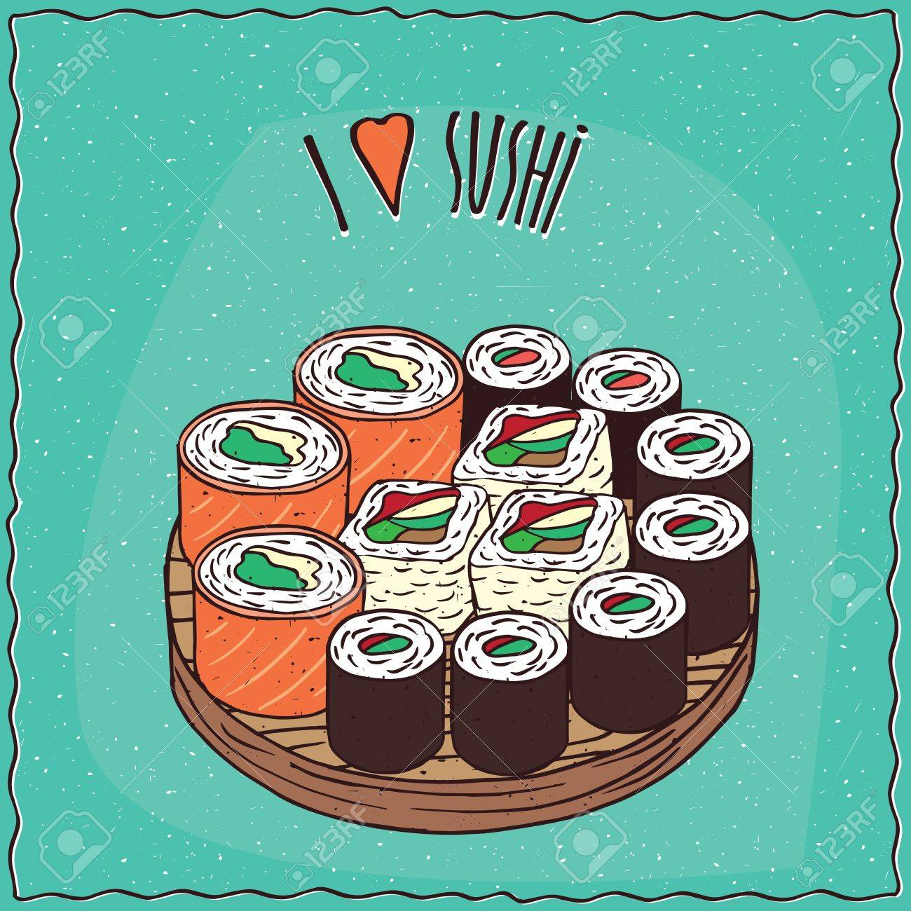 4fd22ad0d Set of different sushi rolls Maki or Makizushi type, on flat wooden plate.  Cyan