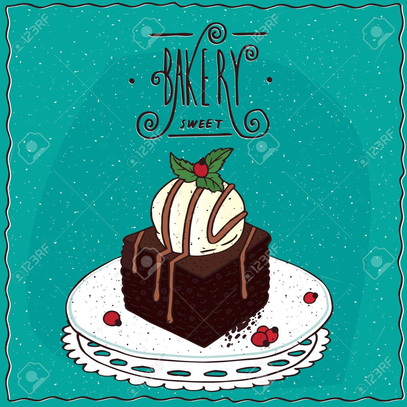Square brownie with vanilla ice cream, lie on lacy napkin. Cyan background and ornate lettering bakery. cartoon style - 65965498