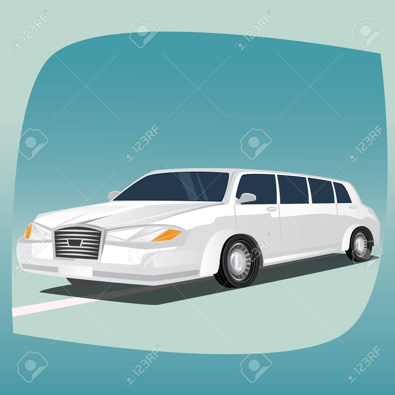 Isolated, detailed images of three-dimensional white limousine, luxury car with lengthened wheelbase, main device of chauffeurs, in cartoon style. Side front view - 65964097