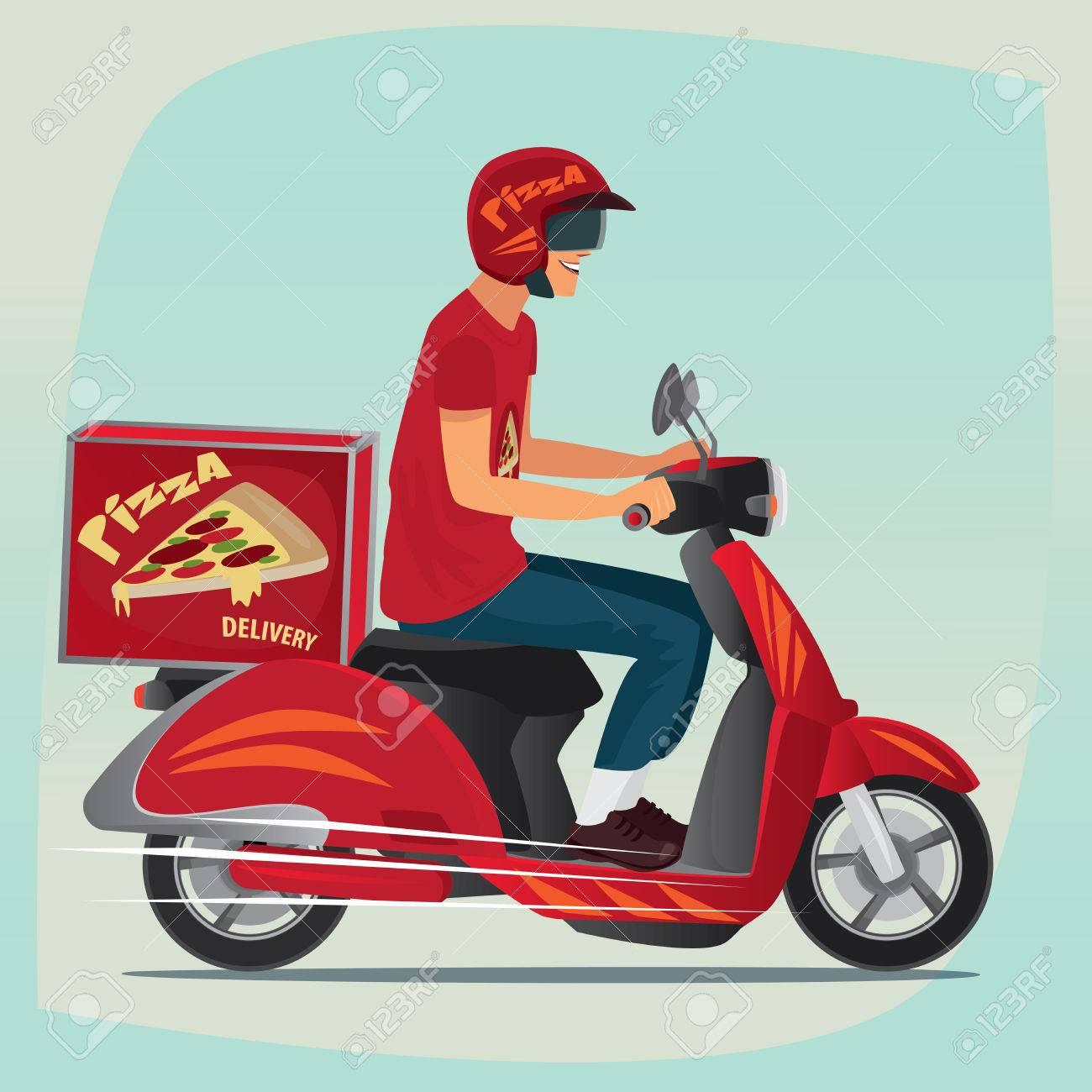 Joven Que Trabaja El Servicio De Mensajería De Pizza. El Montar En ...