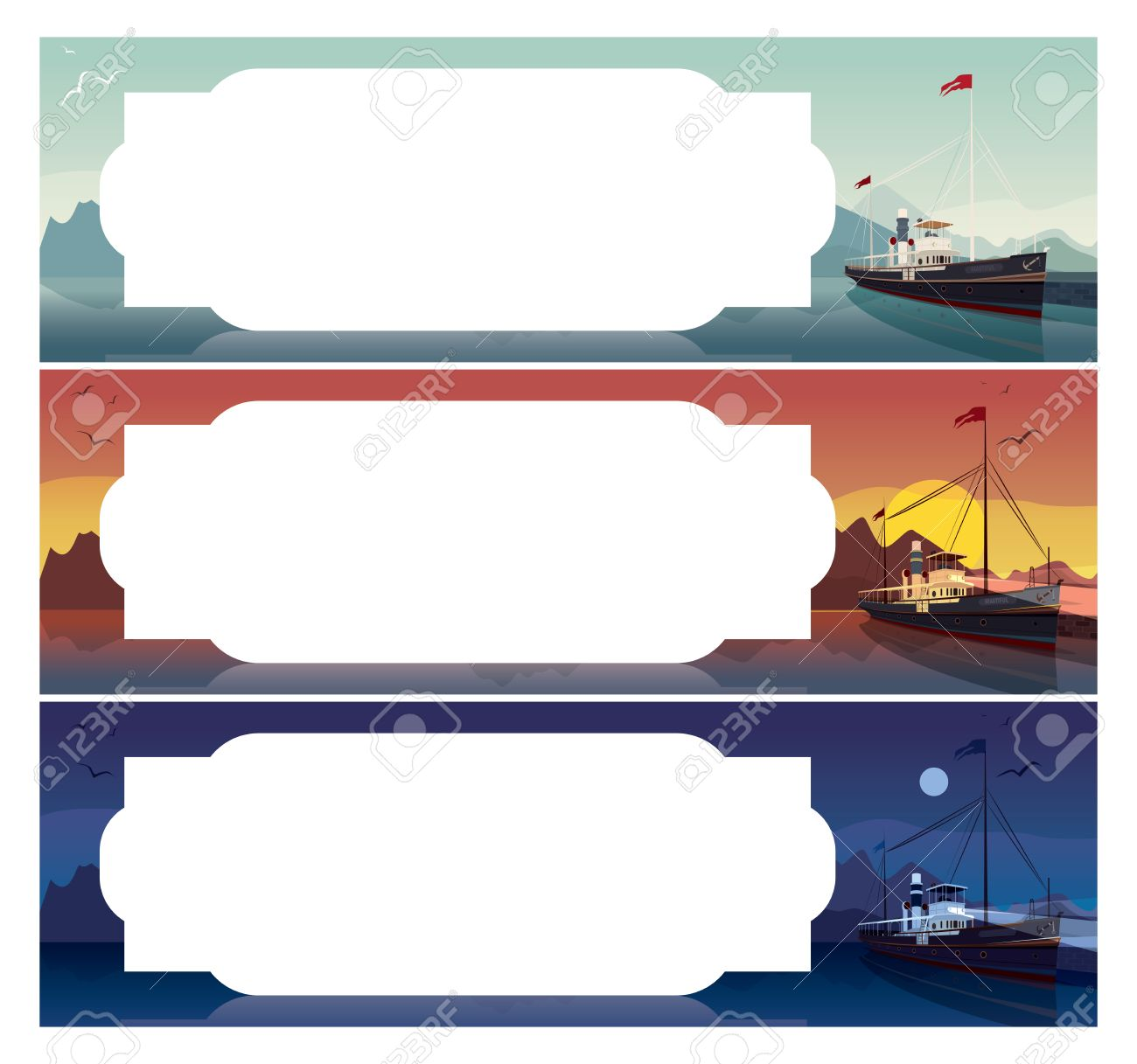 Set Of Horizontal Templates For Sea Cruise Tickets Or Flyers