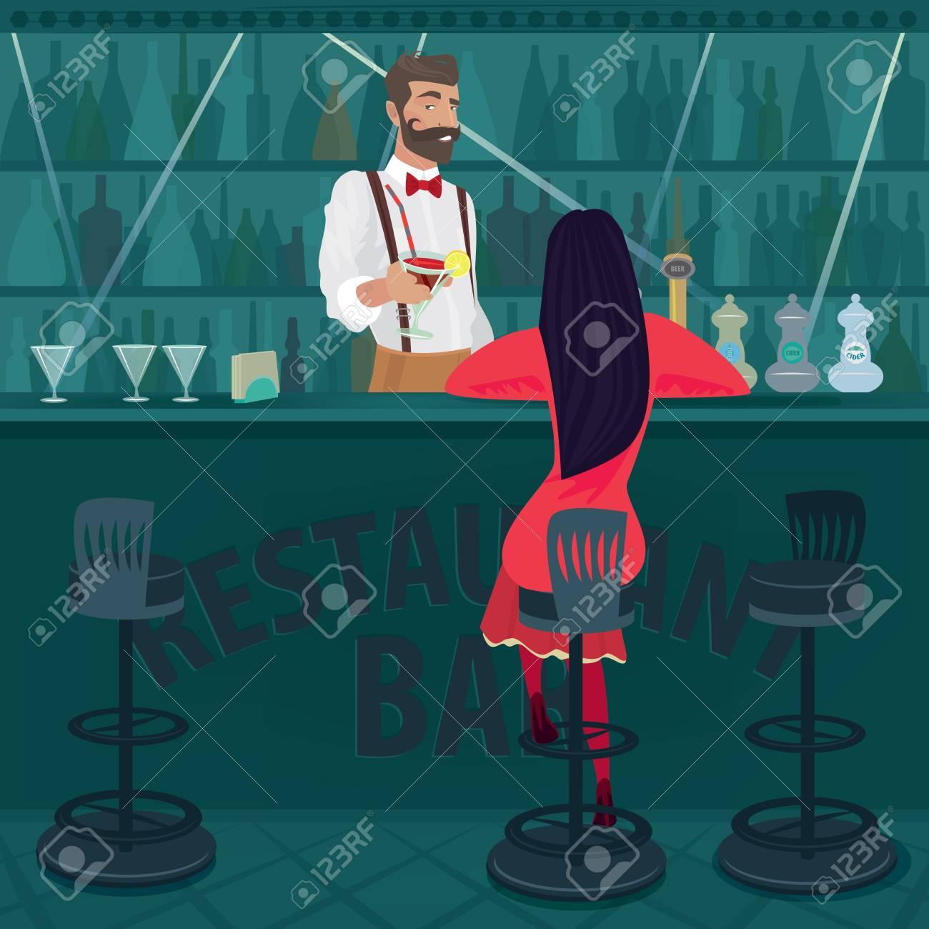 Junge Und Einsame Mädchen In Rot Mit Ihrem Haar Locker Sitzt In