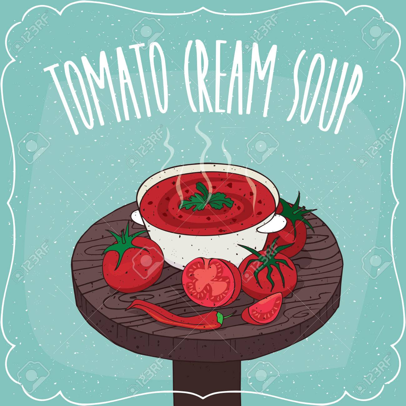Deep plate with hot tomato cream soup on round wooden table with fresh tomatoes and chili  sc 1 st  123RF.com & Deep Plate With Hot Tomato Cream Soup On Round Wooden Table With ...