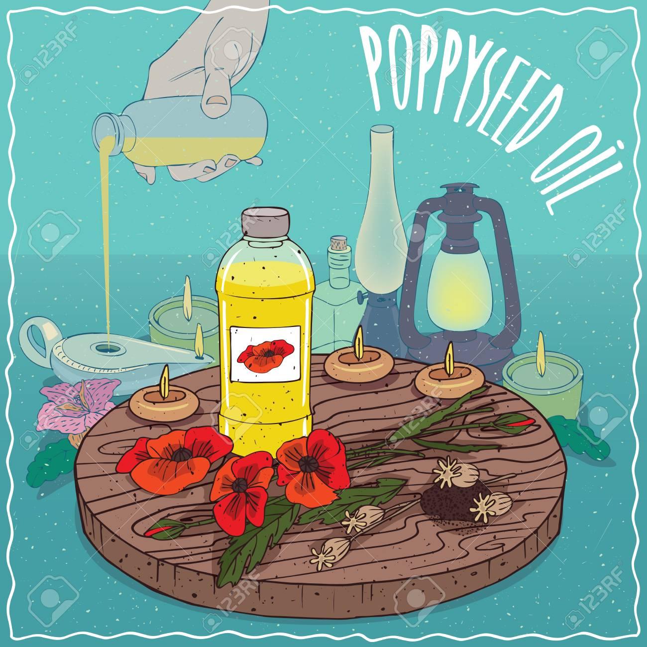 Plastic bottle of poppyseed oil and poppy flowers and seeds plastic bottle of poppyseed oil and poppy flowers and seeds hand filling ancient oil lamp mightylinksfo