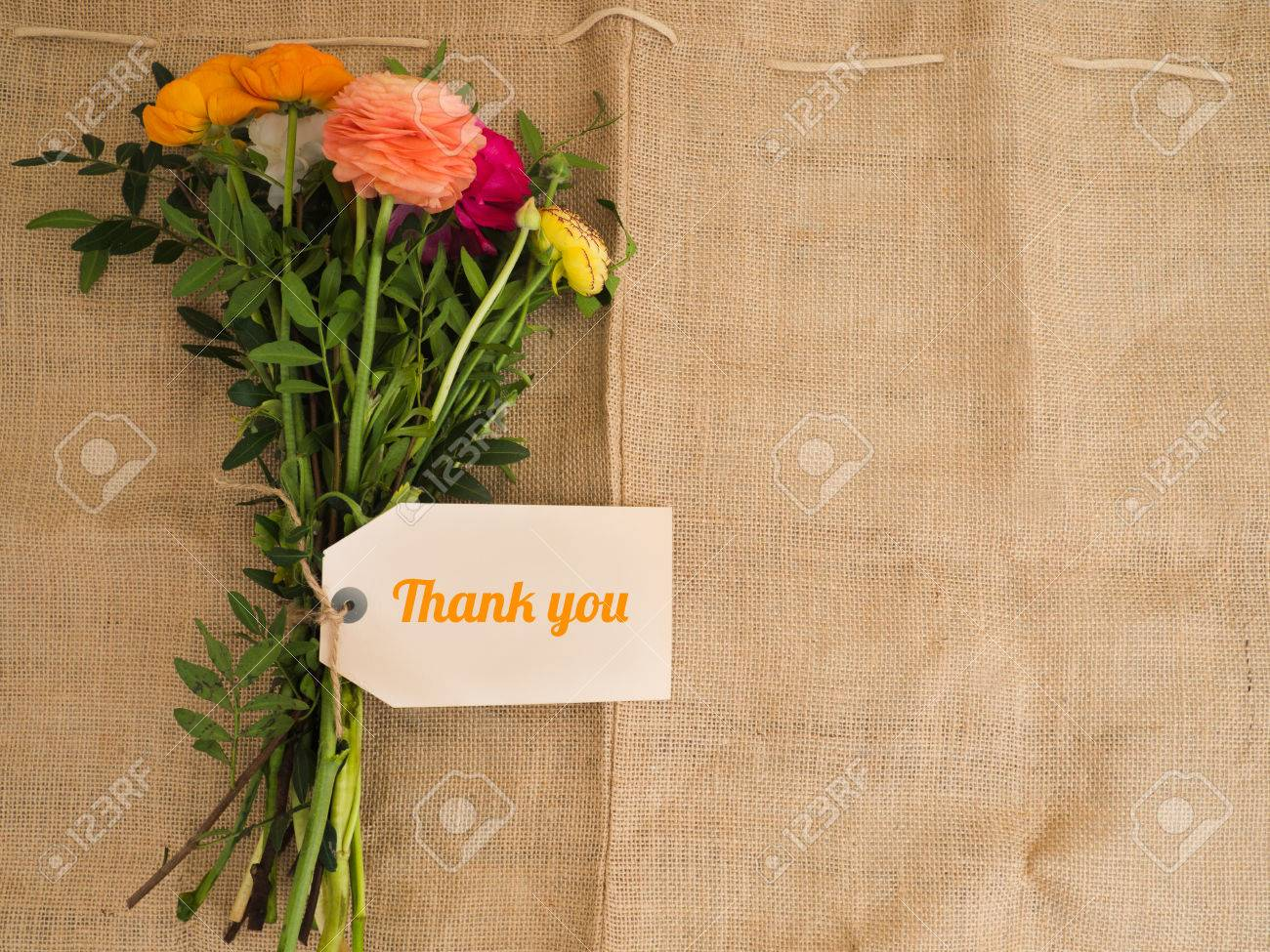 Thank You Beautiful Bouquet Of Flowers With A Message On Jute
