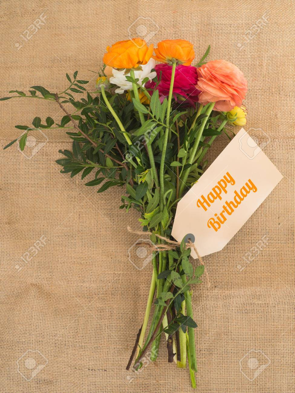 Happy Birthday Beautiful Bouquet Of Flowers With A Message Stock