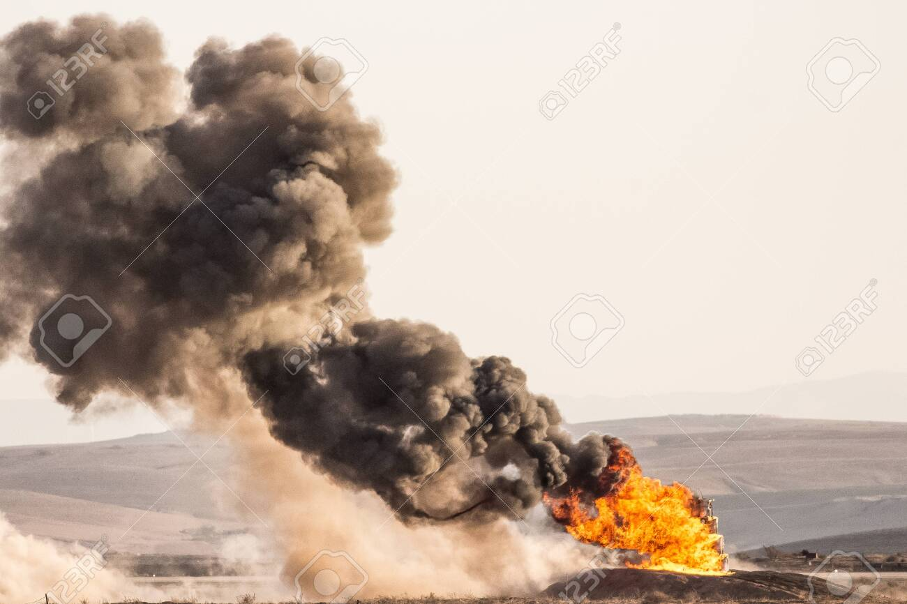capture of aa fireball after a rocket exploaded - 150868219