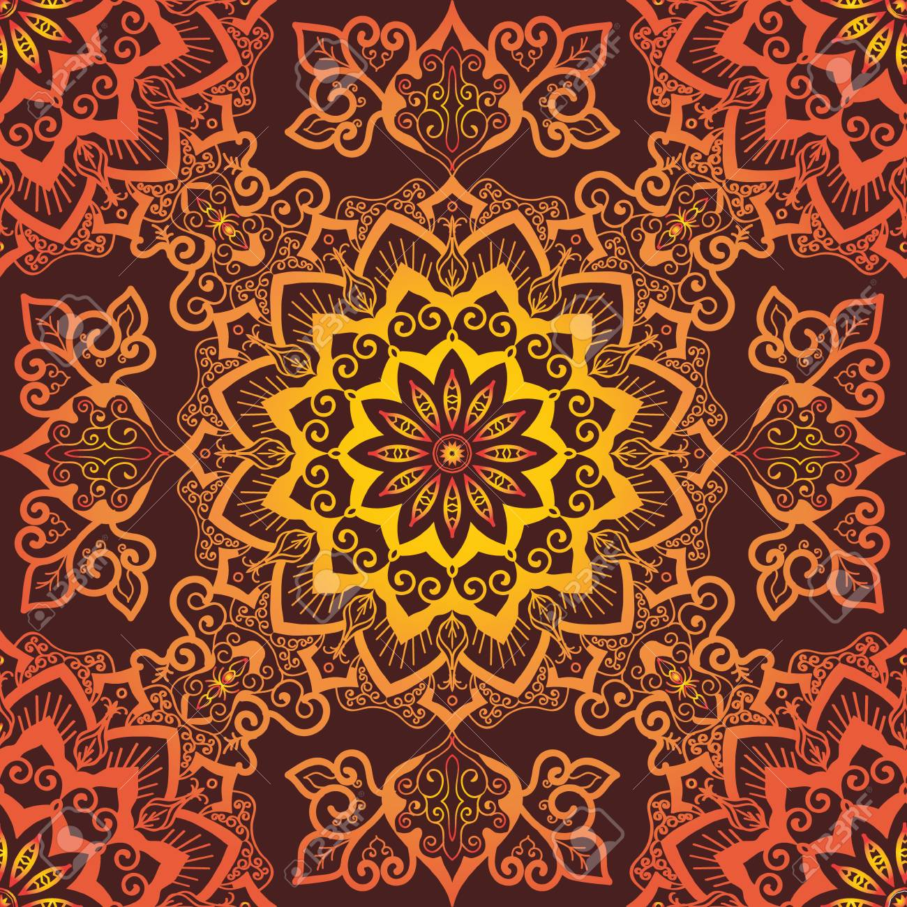 orange mandala pattern decorative round ornament on red background royalty free cliparts vectors and stock illustration image 110355205 orange mandala pattern decorative round ornament on red background