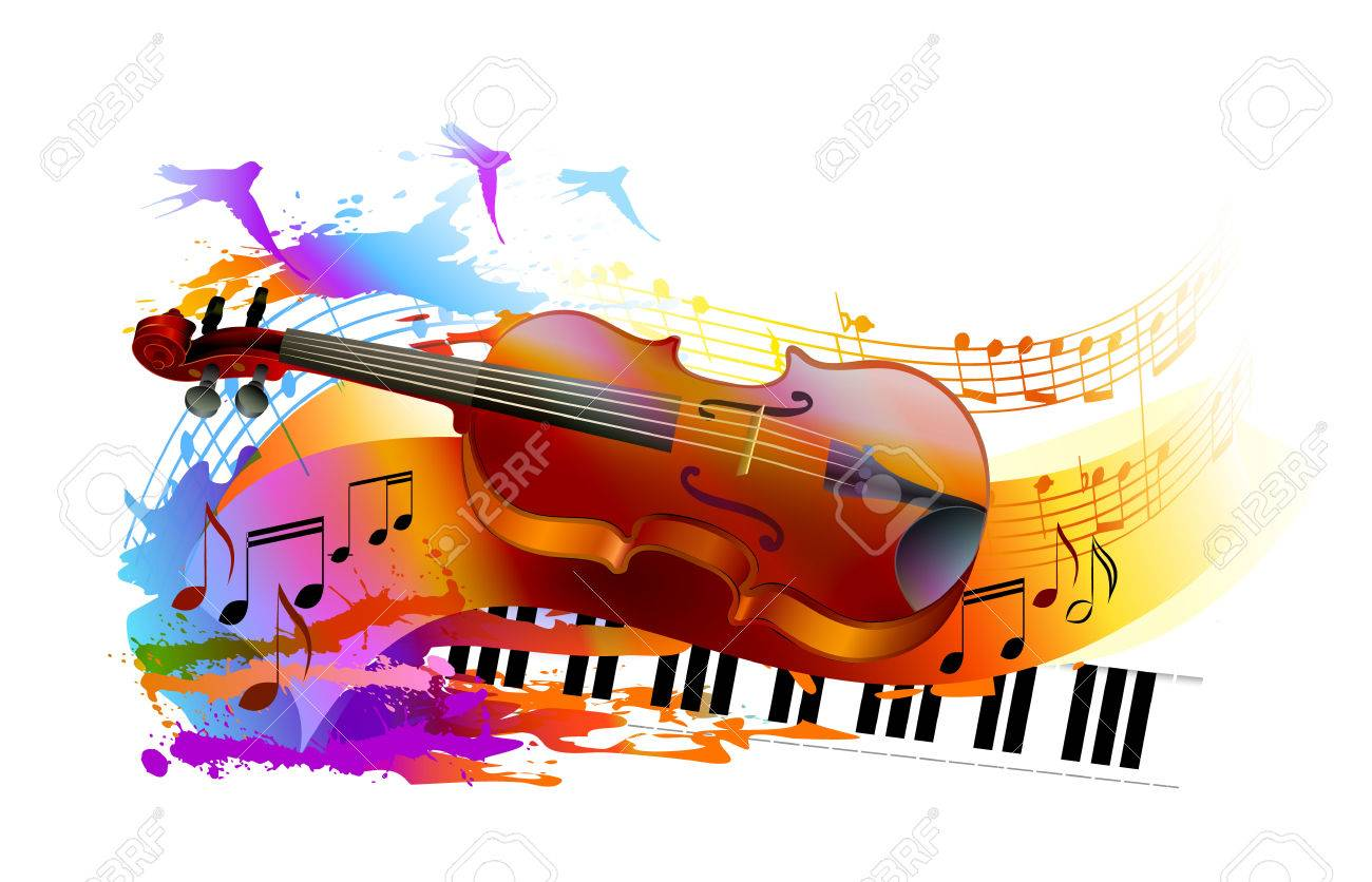 Colorful music background, with violin, musical notes, piano