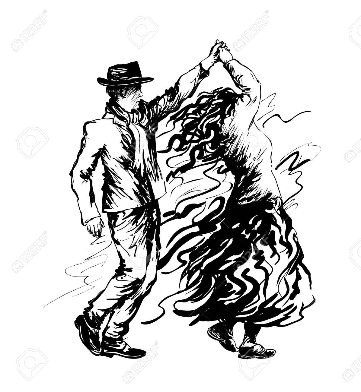 Couple of dancers, salsa dancing. Vector illustration - 137463075