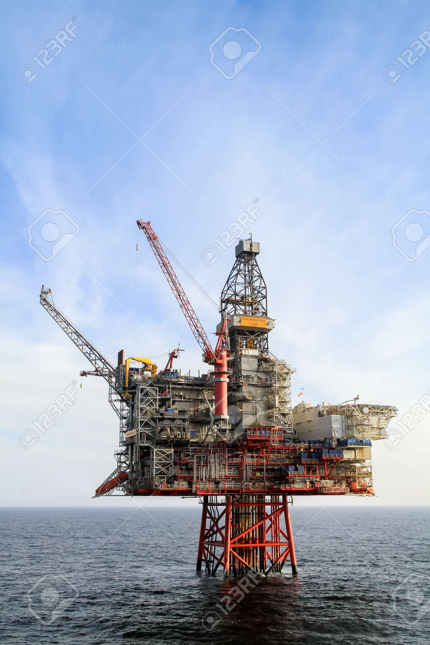 NORTH SEA, NORWAY - 2011 APRIL 15. Oil platform Ringhorn in the North Sea working for Esso. - 153387396