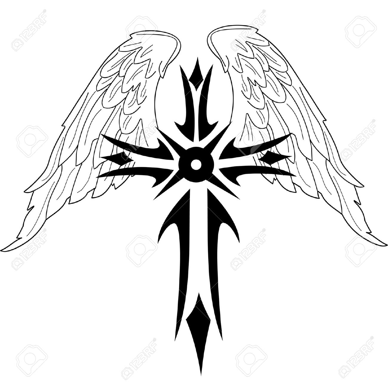 Black Cross With Wings On White Background Royalty Free Cliparts