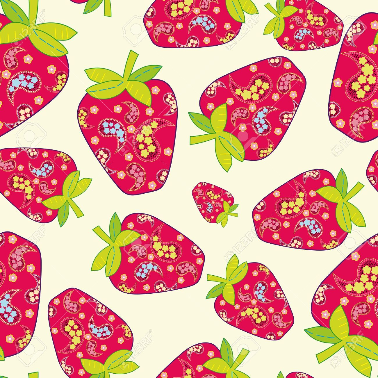 Vector strawberry seamless background Stock Vector - 9649906