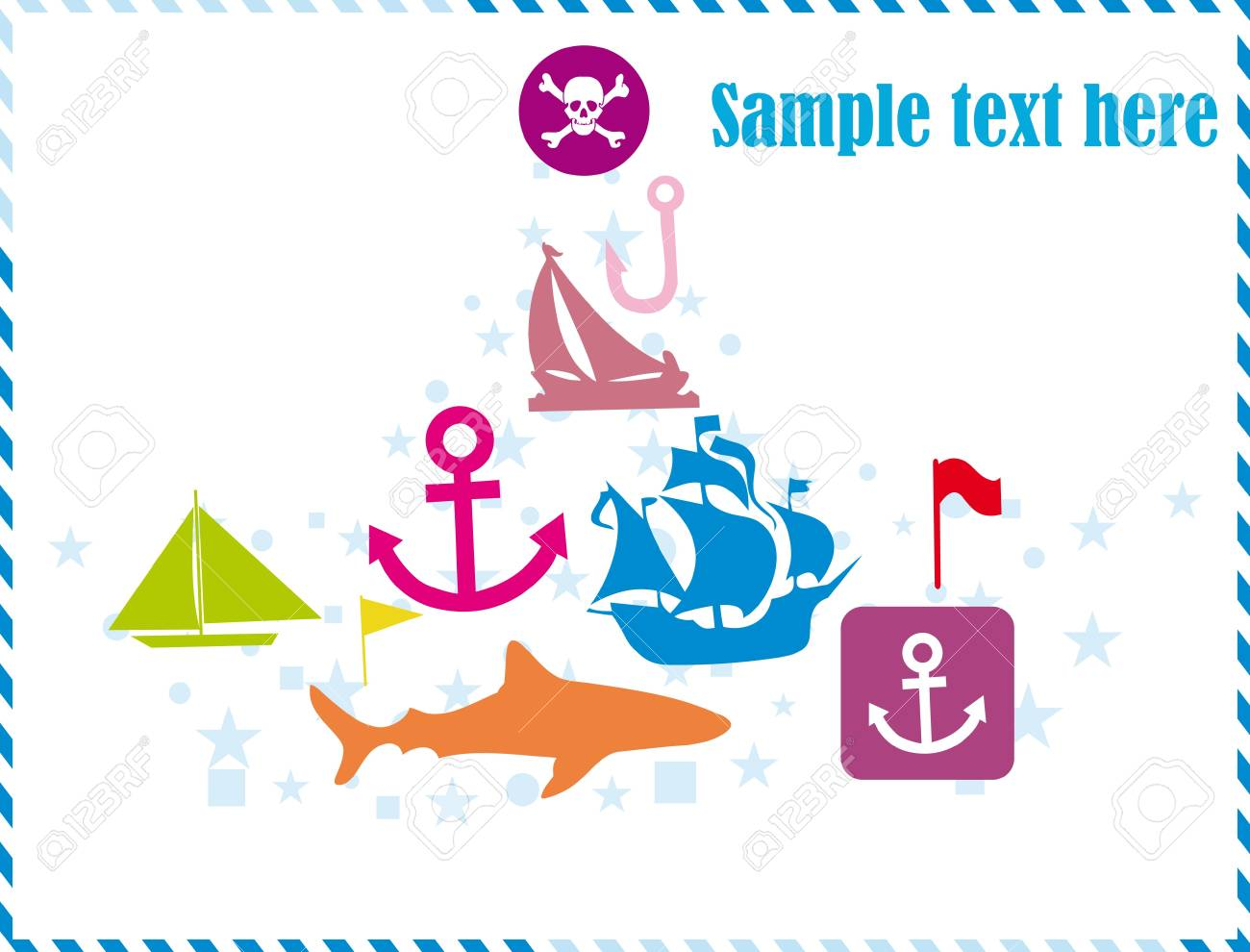 Postcard with pirates set Stock Vector - 9649822